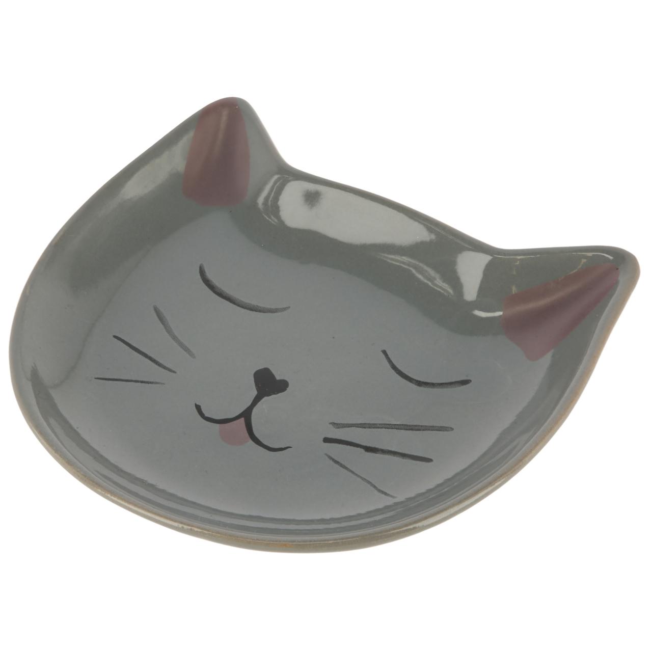 Kitty kerámiatányér, szürke, 14x14x2 cm